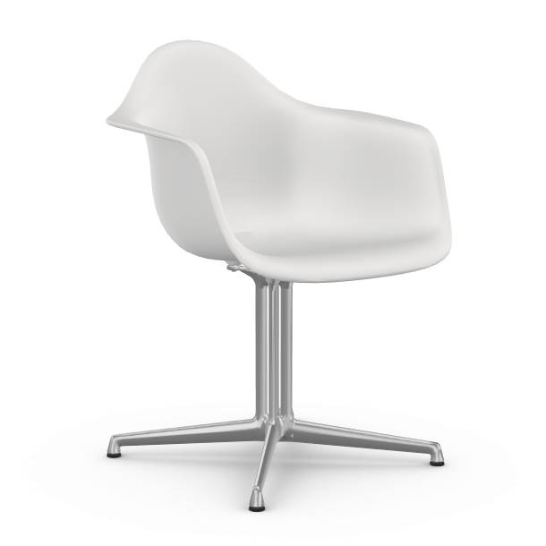 VITRA chaise fauteuil Eames Plastic Armchair DAL (Blanc - Aluminium moulé sous pression / Polypropylène)
