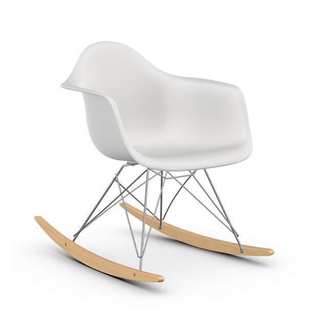 VITRA RAR fauteuil à bascule Eames Plastic Armchair base chromée et érable jaune (Blanc - polypropylène, fil d'acier chromé, érable clair)