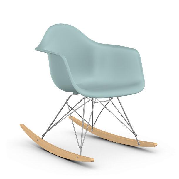 VITRA RAR fauteuil à bascule Eames Plastic Armchair base chromée et érable jaune (Gris glace - polypropylène, fil d'acier chromé, érable clair)