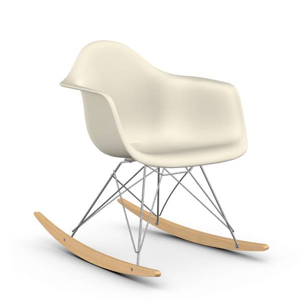 VITRA RAR fauteuil à bascule Eames Plastic Armchair base chromée et érable jaune (Galet - polypropylène, fil d'acier chromé, érable clair)