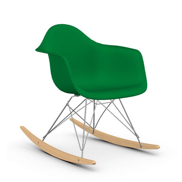 VITRA RAR fauteuil à bascule Eames Plastic Armchair base chromée et érable jaune (Vert - polypropylène, fil d'acier chromé, érable clair)