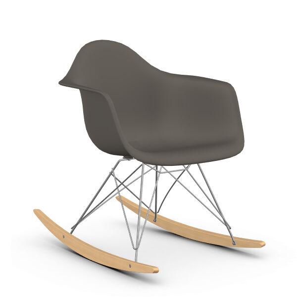 VITRA RAR fauteuil à bascule Eames Plastic Armchair base chromée et érable jaune (gris granit - polypropylène, fil d'acier chromé, érable clair)