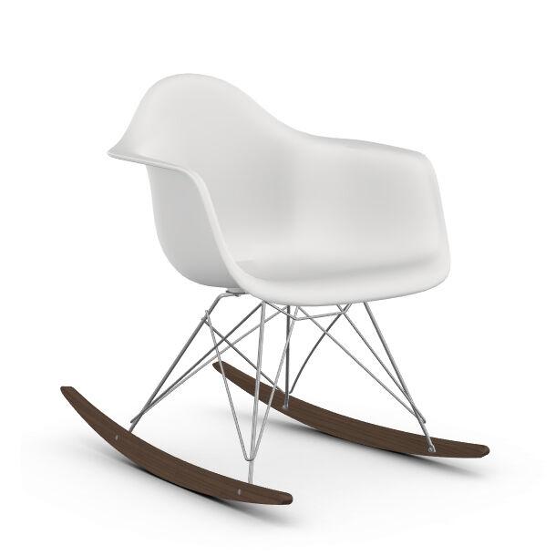 VITRA RAR fauteuil à bascule Eames Plastic Armchair base chromée et érable foncé (Blanc - Polypropylène, fil d'acier chromé, érable foncé)
