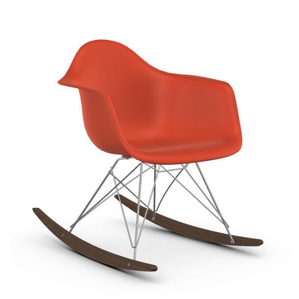 VITRA RAR fauteuil à bascule Eames Plastic Armchair base chromée et érable foncé (Rouge coquelicot - Polypropylène, fil d'acier chromé, érable [...]