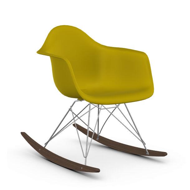 VITRA RAR fauteuil à bascule Eames Plastic Armchair base chromée et érable foncé (Moutarde - Polypropylène, fil d'acier chromé, érable foncé)