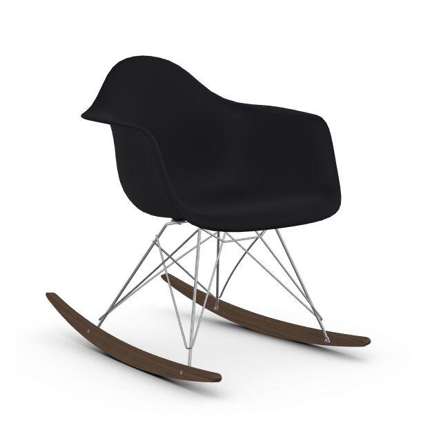 VITRA RAR fauteuil à bascule Eames Plastic Armchair base chromée et érable foncé (Noir intense - Polypropylène, fil d'acier chromé, érable [...]