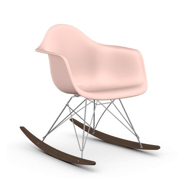 VITRA RAR fauteuil à bascule Eames Plastic Armchair base chromée et érable foncé (Rose clair - Polypropylène, fil d'acier chromé, érable foncé)