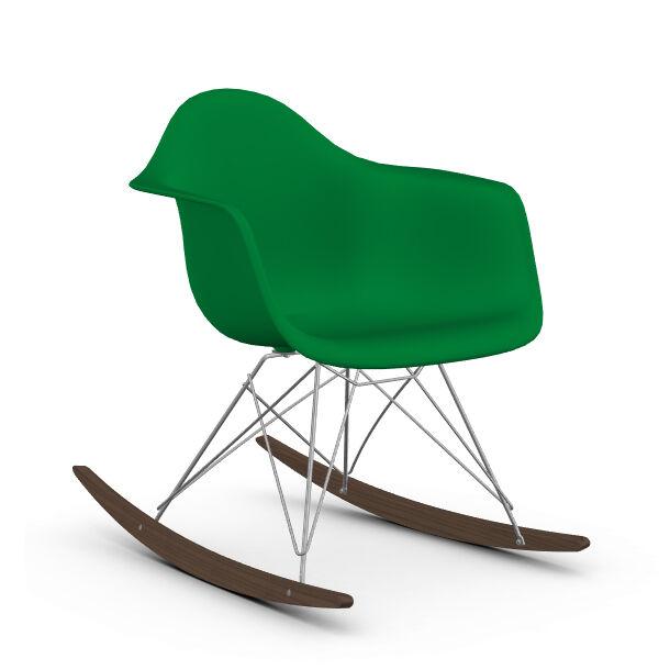 VITRA RAR fauteuil à bascule Eames Plastic Armchair base chromée et érable foncé (Vert - Polypropylène, fil d'acier chromé, érable foncé)