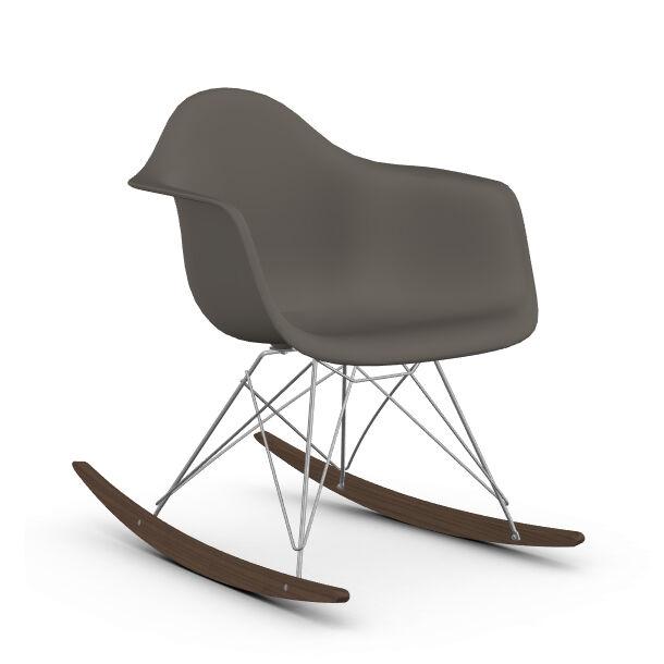 VITRA RAR fauteuil à bascule Eames Plastic Armchair base chromée et érable foncé (gris granit - Polypropylène, fil d'acier chromé, érable foncé)
