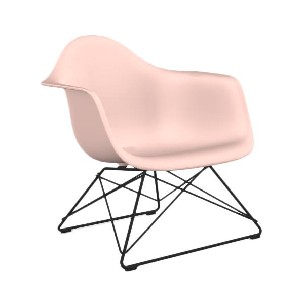 VITRA chaise fauteuil avec piètement noir Eames Plastic Armchair LAR (Rose clair - Acier verni / Polypropylène)