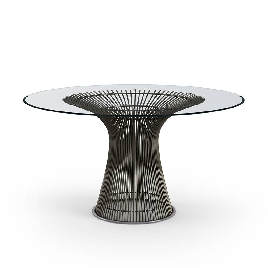 KNOLL table ronde PLATNER Ø 135 cm (Bronze / Transparent - Métal / Cristal)