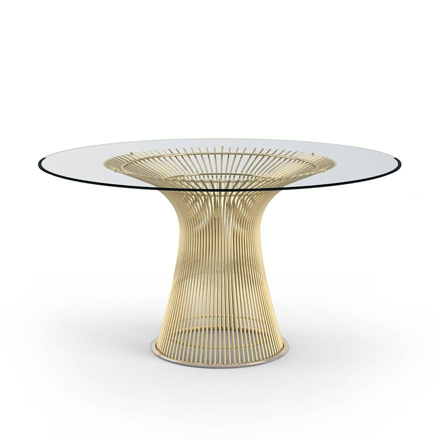 KNOLL table ronde PLATNER Ø 135 cm (Or 18k / Transparent - Métal / Cristal)