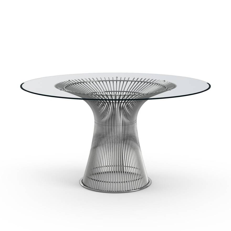 KNOLL table ronde PLATNER Ø 135 cm (Nickel / Transparent - Métal / Cristal)