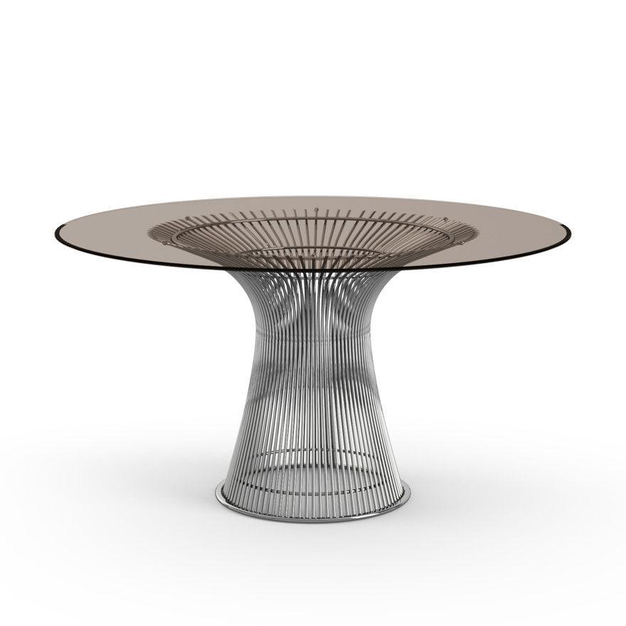 KNOLL table ronde PLATNER Ø 135 cm (Nickel / Bronze - Métal / Cristal)