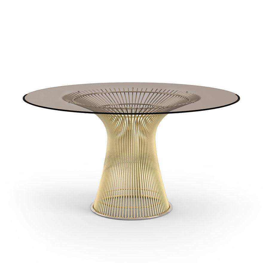 KNOLL table ronde PLATNER Ø 135 cm (Or 18k / Bronze - Métal / Cristal)