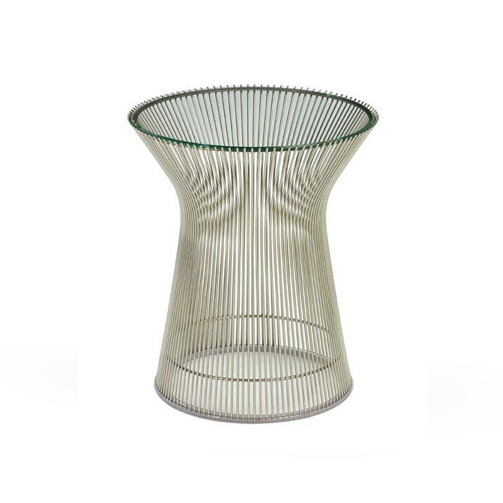 KNOLL table basse ronde PLATNER Ø 40 x H 46 cm (Nickel / Transparent - Métal / Cristal)