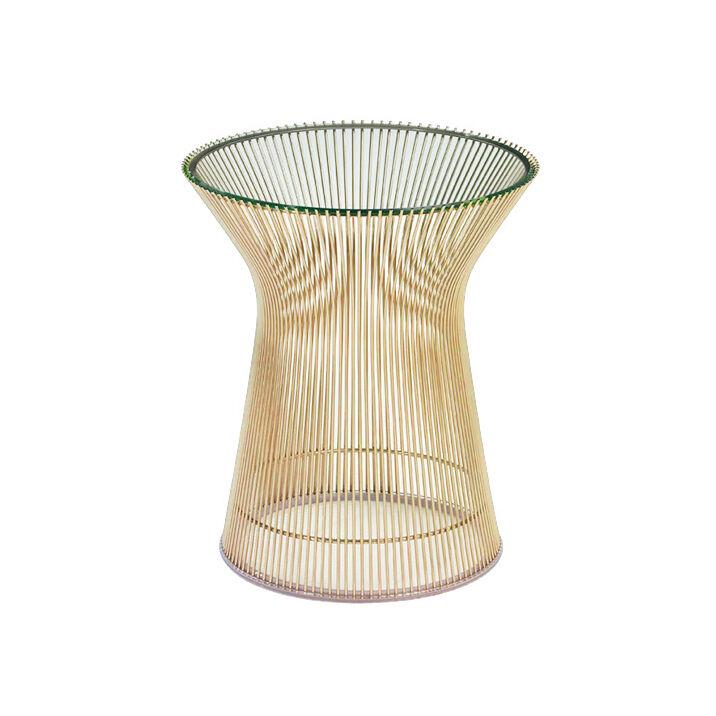 KNOLL table basse ronde PLATNER Ø 40 x H 46 cm (Or 18k / Transparent - Métal / Cristal)