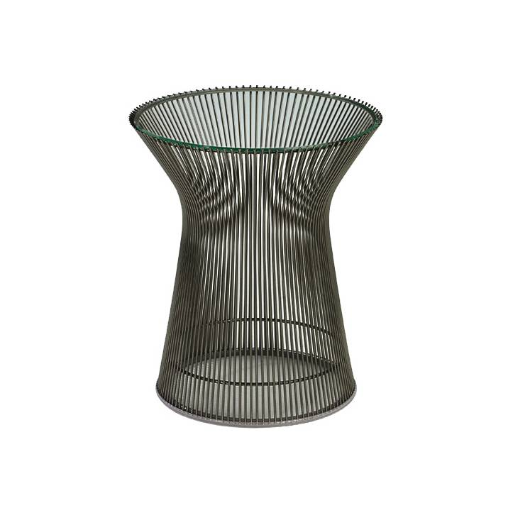 KNOLL table basse ronde PLATNER Ø 40 x H 46 cm (Bronze / Transparent - Métal / Cristal)