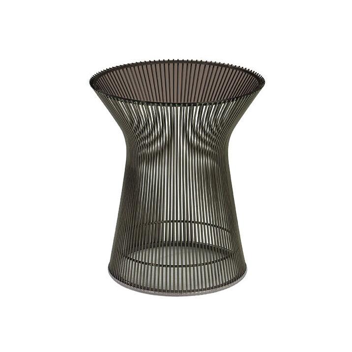 KNOLL table basse ronde PLATNER Ø 40 x H 46 cm (Bronze / Bronze - Métal / Cristal)