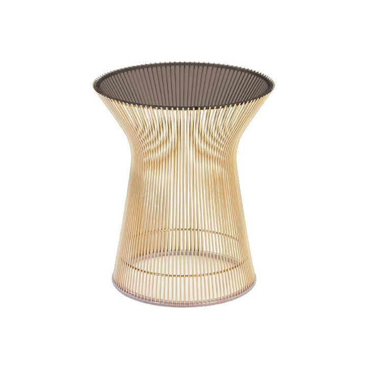KNOLL table basse ronde PLATNER Ø 40 x H 46 cm (Or 18k / Bronze - Métal / Cristal)
