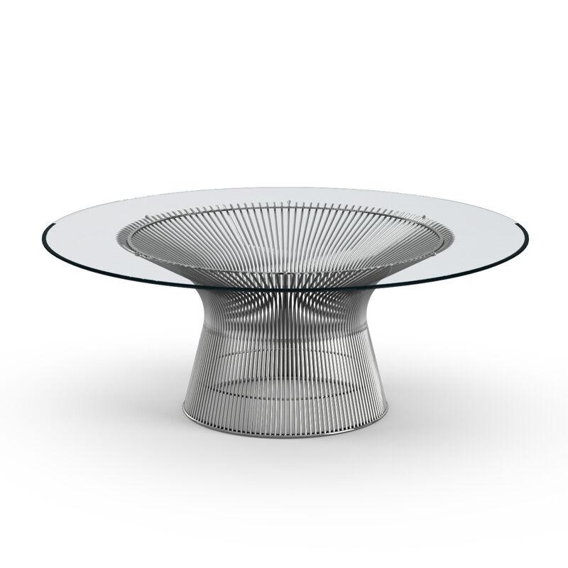 KNOLL table basse ronde PLATNER Ø 107 x H 38,5 cm (Nickel / Transparent - Métal / Cristal)