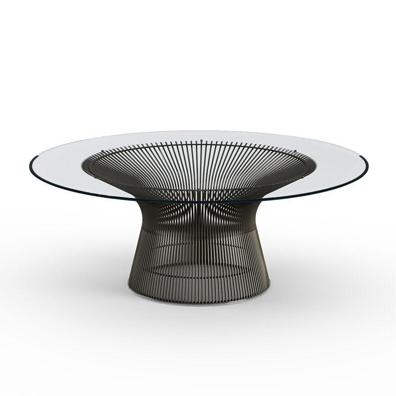 KNOLL table basse ronde PLATNER Ø 107 x H 38,5 cm (Bronze / Transparent - Métal / Cristal)