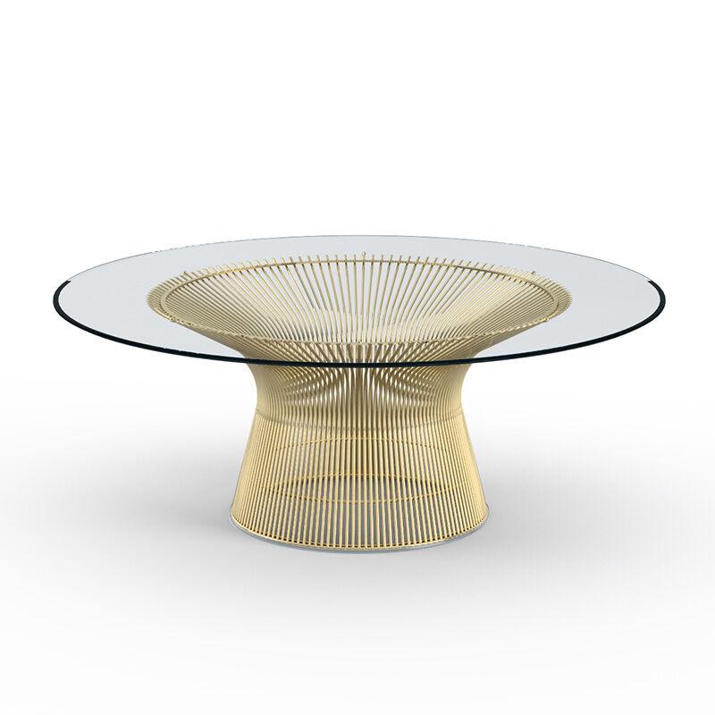 KNOLL table basse ronde PLATNER Ø 107 x H 38,5 cm (Or 18k / Transparent - Métal / Cristal)