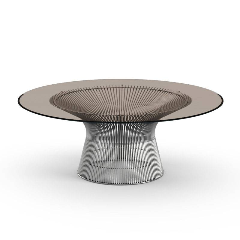 KNOLL table basse ronde PLATNER Ø 107 x H 38,5 cm (Nickel / Bronze - Métal / Cristal)