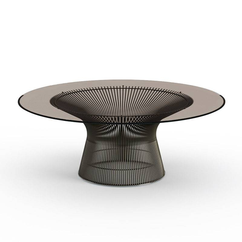 KNOLL table basse ronde PLATNER Ø 107 x H 38,5 cm (Bronze / Bronze - Métal / Cristal)