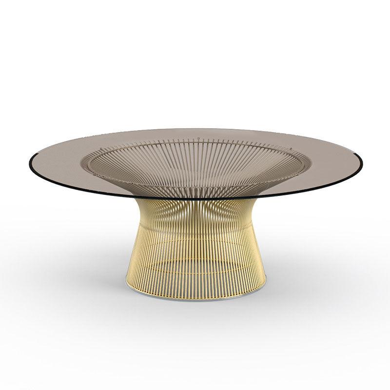 KNOLL table basse ronde PLATNER Ø 107 x H 38,5 cm (Or 18k / Bronze - Métal / Cristal)