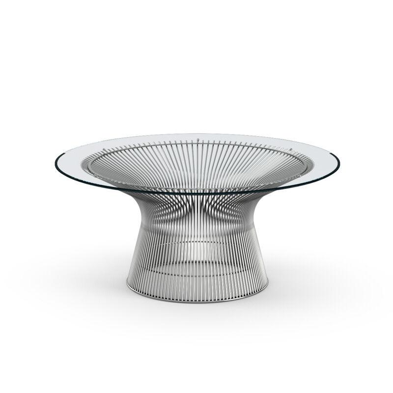KNOLL table basse ronde PLATNER Ø 91,5 x H 38,5 cm (Nickel / Transparent - Métal / Cristal)