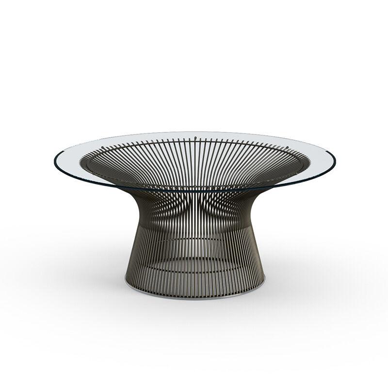KNOLL table basse ronde PLATNER Ø 91,5 x H 38,5 cm (Bronze / Transparent - Métal / Cristal)