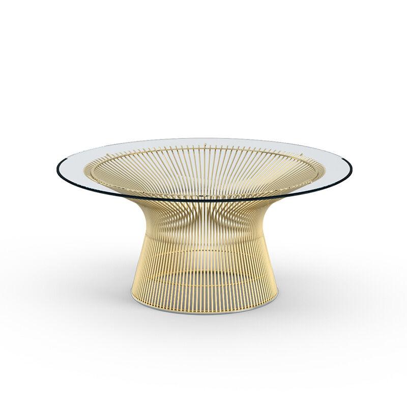 KNOLL table basse ronde PLATNER Ø 91,5 x H 38,5 cm (Or 18k / Transparent - Métal / Cristal)