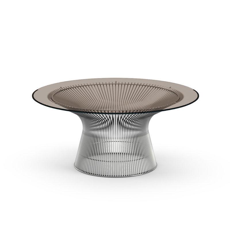 KNOLL table basse ronde PLATNER Ø 91,5 x H 38,5 cm (Nickel / Bronze - Métal / Cristal)