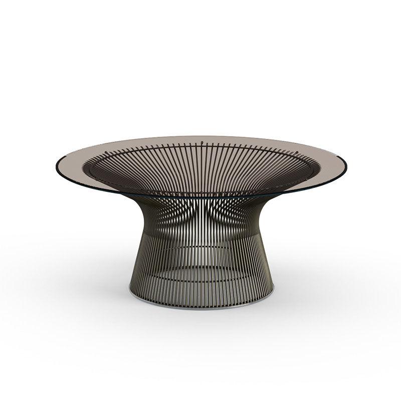 KNOLL table basse ronde PLATNER Ø 91,5 x H 38,5 cm (Bronze / Bronze - Métal / Cristal)