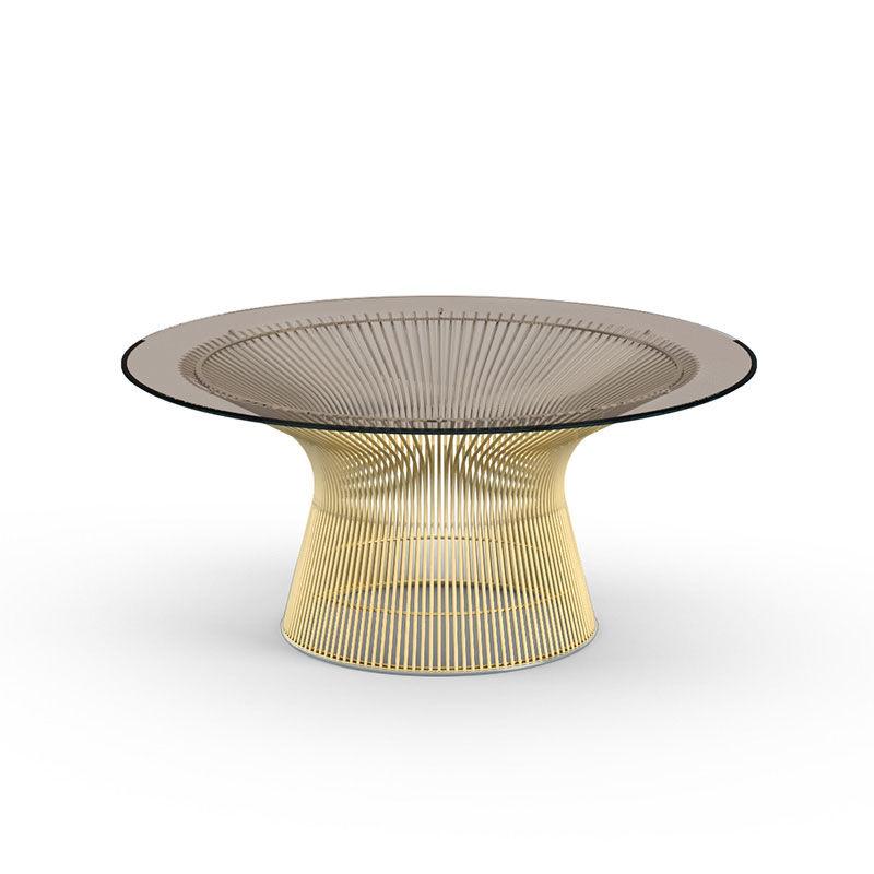 KNOLL table basse ronde PLATNER Ø 91,5 x H 38,5 cm (Or 18k / Bronze - Métal / Cristal)