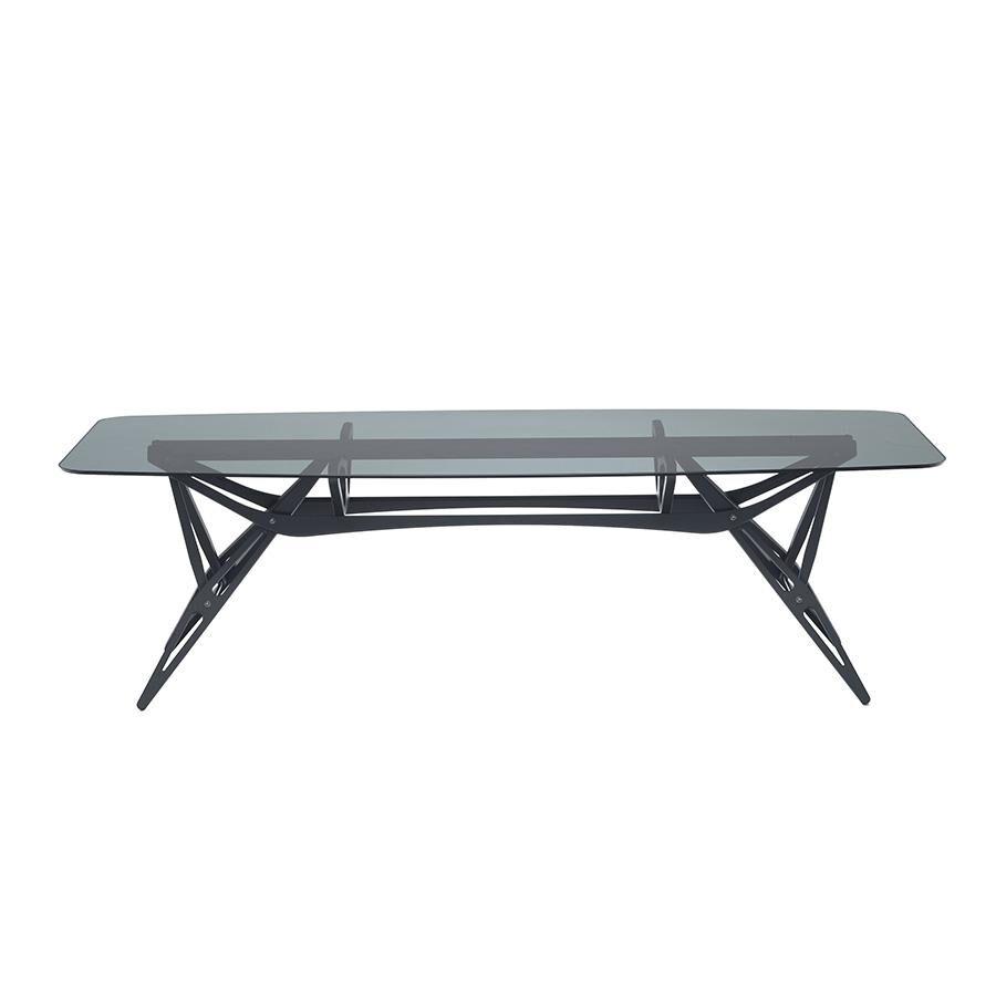 ZANOTTA table avec étage en verre REALE CM (90x220 cm - Chêne teinté noir, cristal fumé gris)