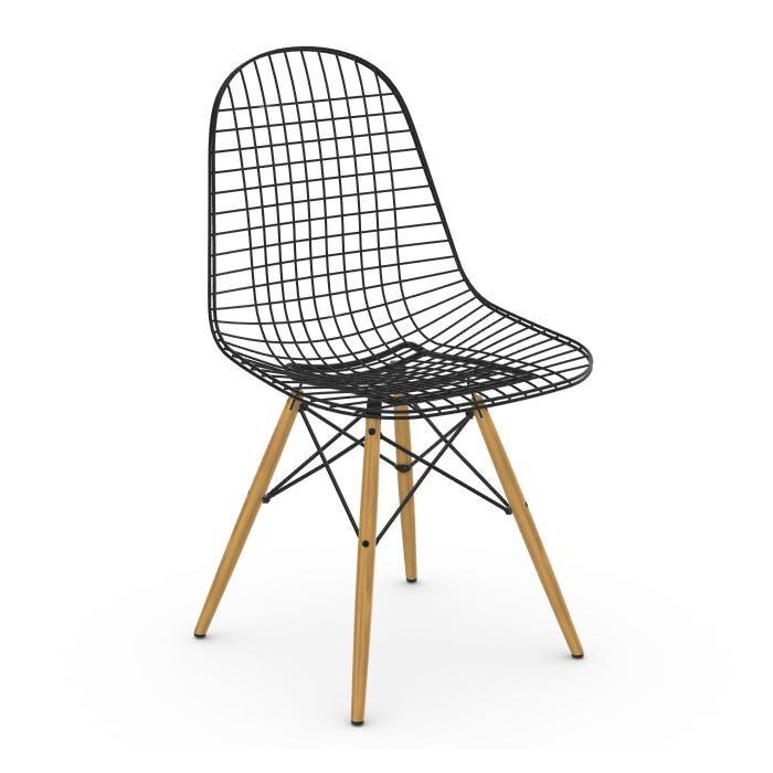 VITRA chaise Wire Chair DKW (Érable nuance de jaune - Acier peint Basic Dark et bois)