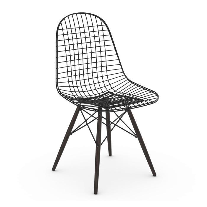 VITRA chaise Wire Chair DKW (Érable noir - Acier peint Basic Dark et bois)