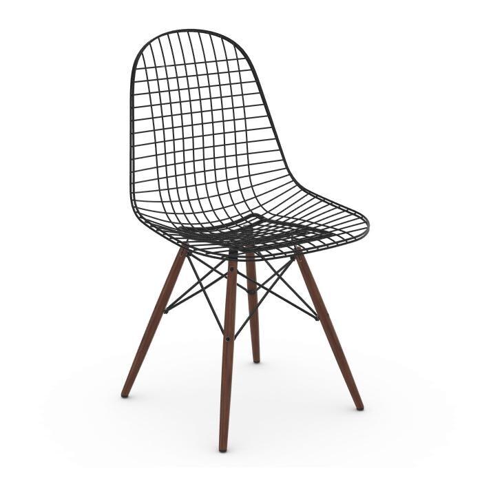 VITRA chaise Wire Chair DKW (Érable foncé - Acier peint Basic Dark et bois)