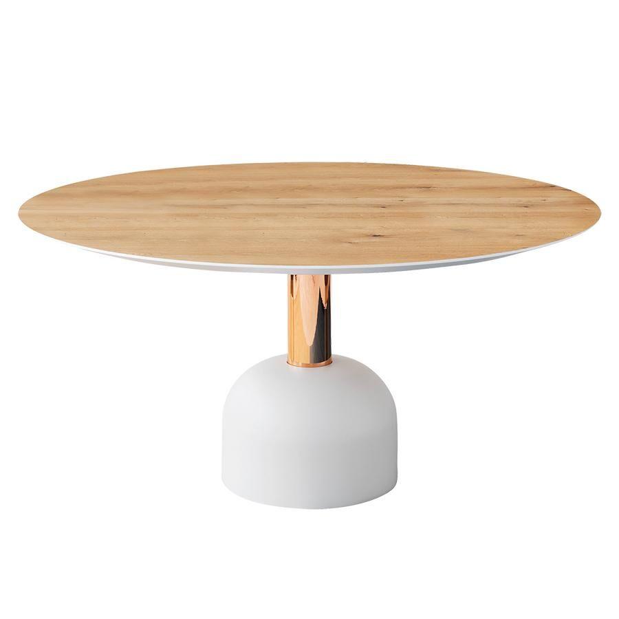 MINIFORMS table ronde ILLO Ø 155 cm (Plateau vintage en chêne, colonne or rose mat, base blanche - Bois peint, métal et résine de marbre)
