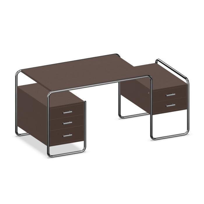 THONET écritoire de bureau S 285 (Dark brown - Frêne teinté et acier chromé)