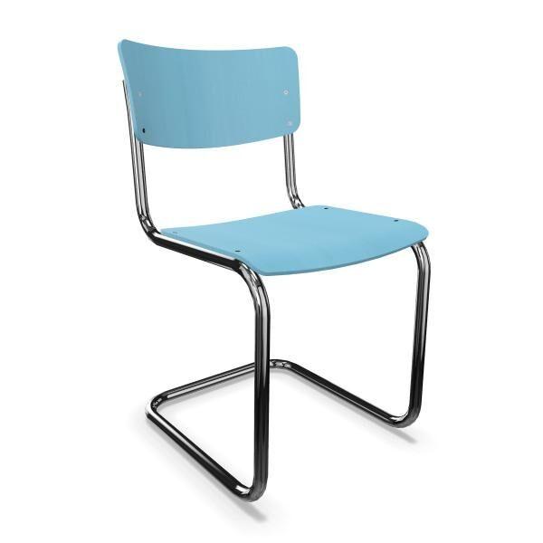 THONET chaise S 43 (Azure blue - Frêne teinté II and acier chromée)