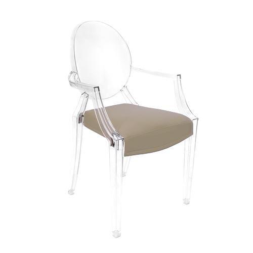MYAREADESIGN 4 chaises KARTELL LOUIS GHOST + 4 coussins IL CUSCINO (Noisette cod. 07 - Eco-cuir Greta)