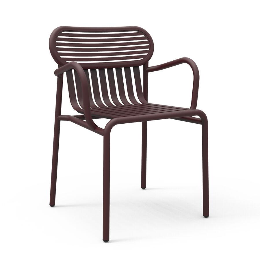 PETITE FRITURE set de 4 chaises avec accoudoirs pour extérieur WEEK-END (Bordeaux - Aluminium verni par poudre epoxy)