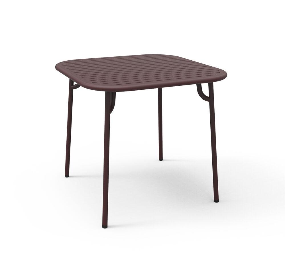 PETITE FRITURE table carrée pour extérieur WEEK-END (Bordeaux - Aluminium verni par poudre epoxy)