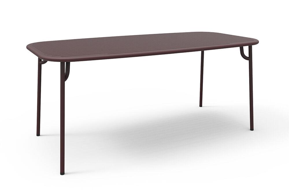 PETITE FRITURE table rectangulaire pour extérieur WEEK-END 180x85 cm (Bordeaux - Aluminium verni par poudre epoxy)