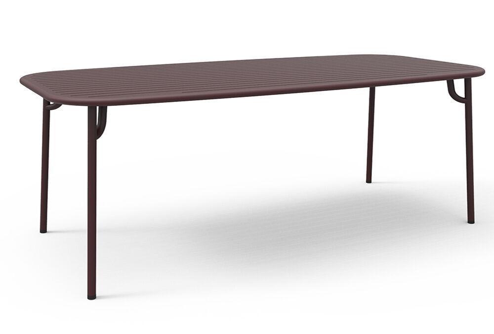 PETITE FRITURE table rectangulaire pour extérieur WEEK-END 220x85 cm (Bordeaux - Aluminium verni par poudre epoxy)