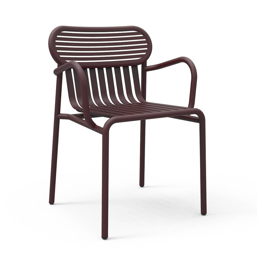 PETITE FRITURE set de 2 chaises avec accoudoirs pour extérieur WEEK-END (Bordeaux - Aluminium verni par poudre epoxy)