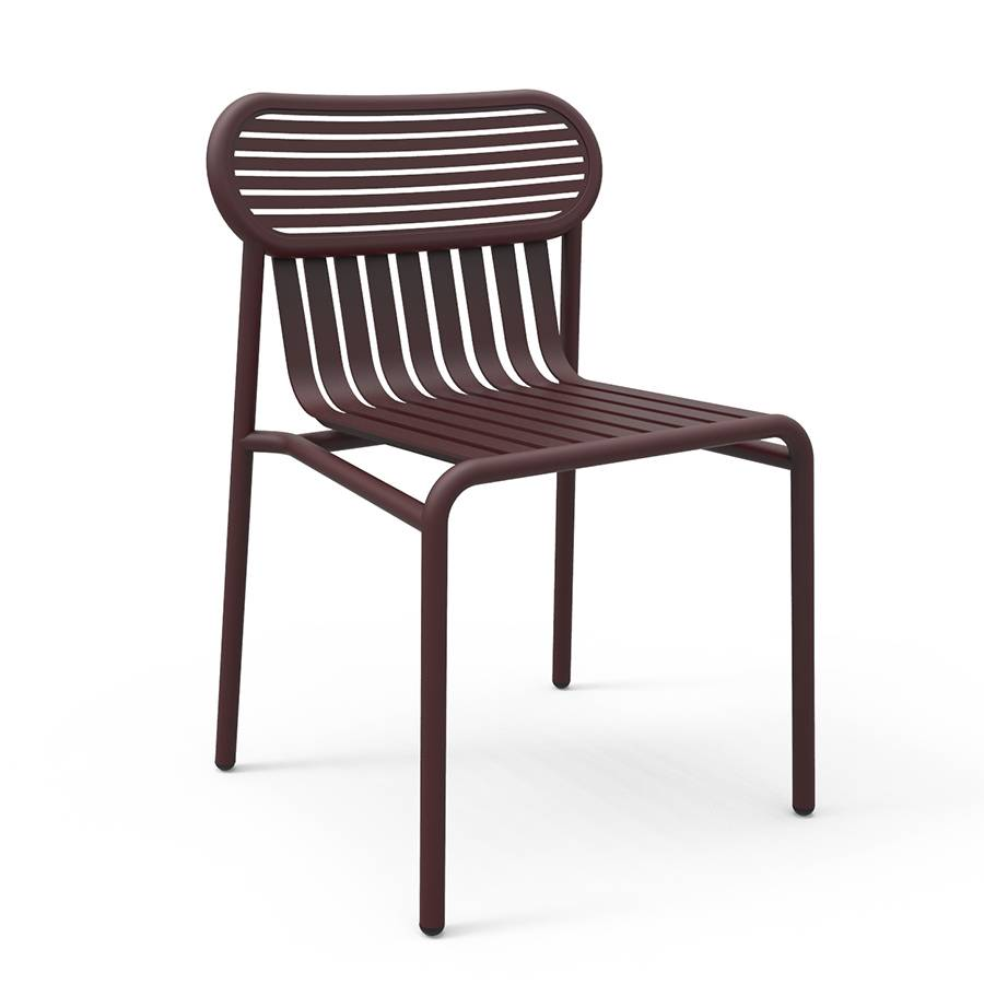 PETITE FRITURE set de 2 chaises pour extérieur WEEK-END (Bordeaux - Aluminium verni par poudre epoxy)